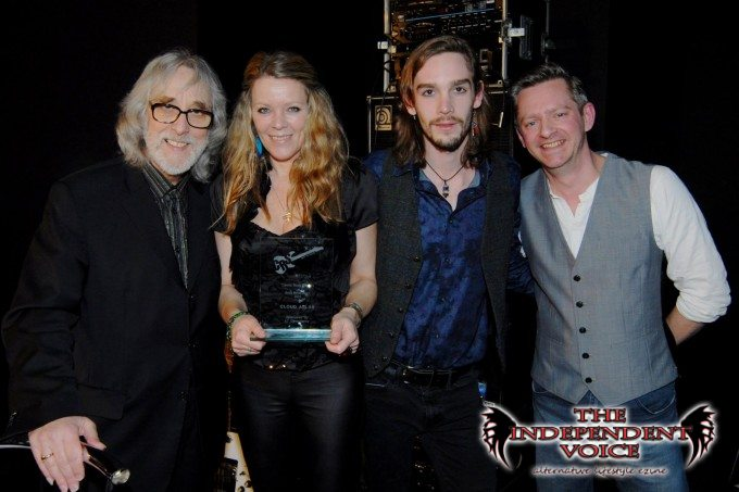 """With the legendary Gordon Giltrap at the Classic Rock  Society  awards, where the band won """"Best Newcomer"""""""